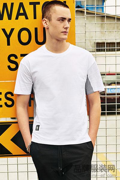 Jasonwood/坚持我的夏季男士创新前T后衫拼接短袖T恤271803017