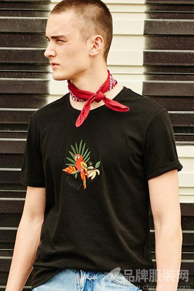 Jasonwood/坚持我的夏季男士鹦鹉刺绣纯棉短袖潮流宽松T恤圆领