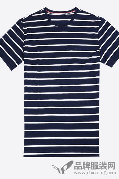 DMHGT242S红豆男装男士横条纹短袖T恤L