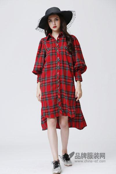欧�h女装2017秋冬时尚灯笼袖衬衫裙
