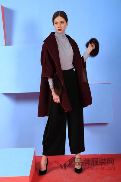 雷迪尔恒女装2017秋冬欧美中袖羊绒外套