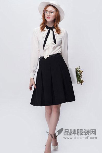 OBEG(欧碧倩)女装2017秋冬商务系带衬衫