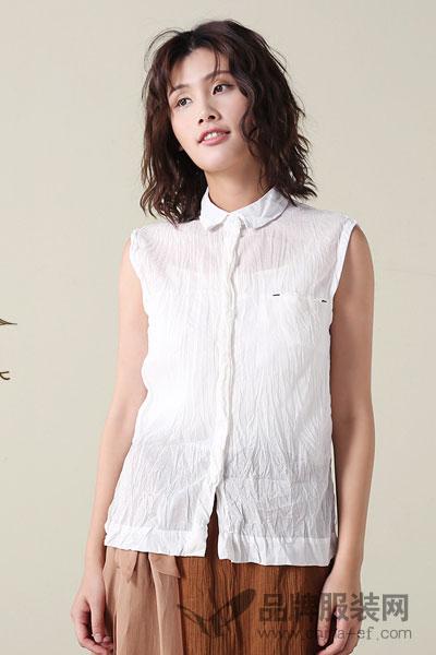 予含无袖亚麻衬衫POLO领2017夏新单排扣短款上衣女装通勤百搭纯色