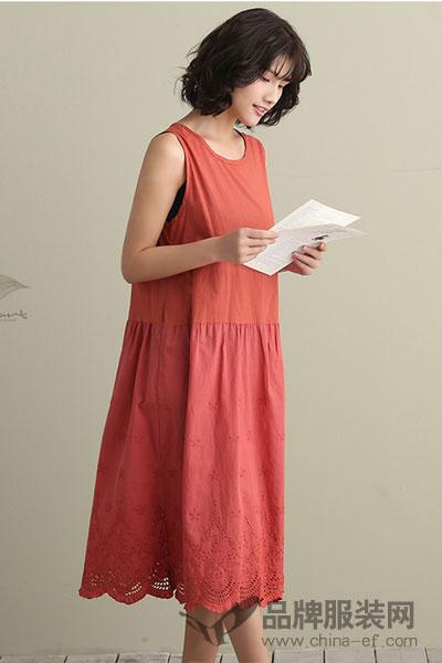 予含圆领无袖连衣裙女2017夏新时尚镂空文艺刺绣通勤宽松吊带长裙