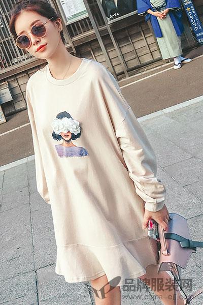 润乙一连衣裙女秋2017新款长袖中长款韩版宽松裙子百搭套头卫衣潮