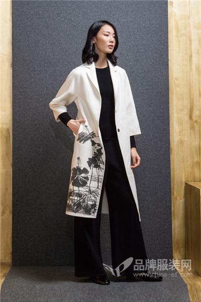ECA女装2017秋冬中国风长款毛呢外套