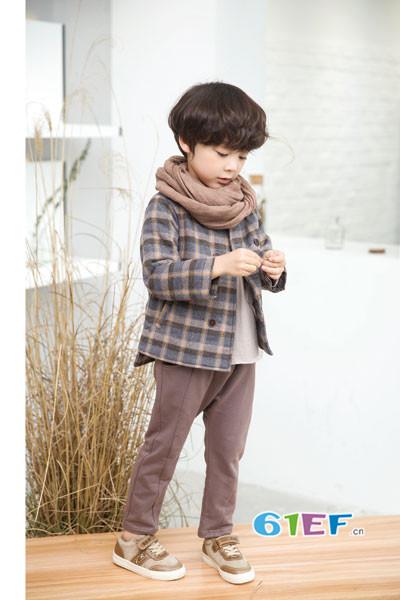 琦瑞德泽童装2017秋冬韩版格子休闲外套