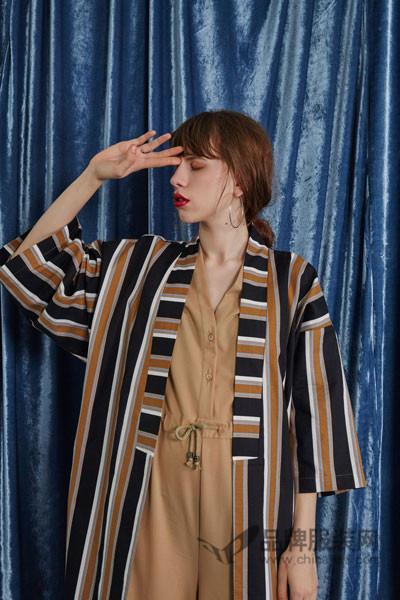 ITS VIIVII女装2017新品休闲条纹长款薄外套