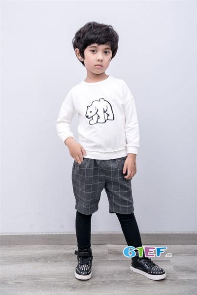 衣童盟童装2017秋季纯棉印花T恤