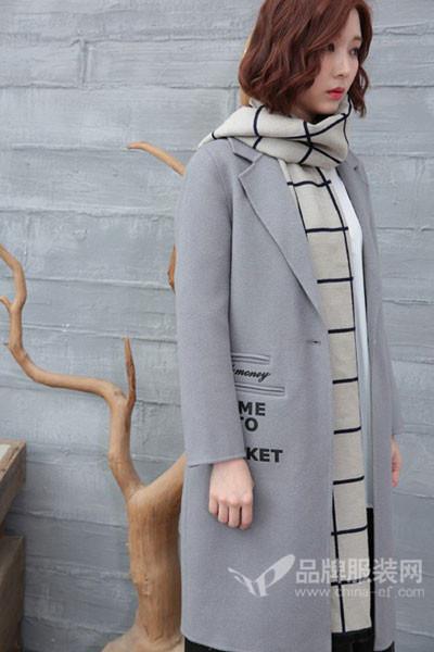 着秀女装女装2017秋冬韩版中长款毛呢外套