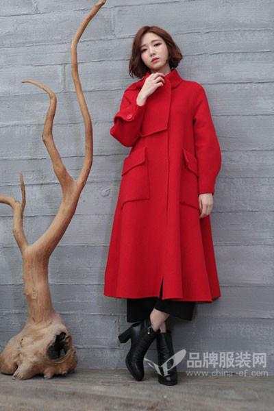着秀女装女装2017秋冬韩版中长款高领毛呢外套