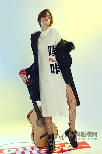 中国娃娃PUCCA女装2017秋冬韩版中长款棉外套