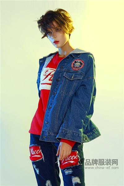 中国娃娃PUCCA女装2017秋冬时尚牛仔外套