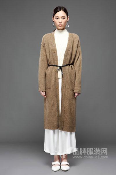 LAWRENCE女装2017秋冬百搭长款针织开衫