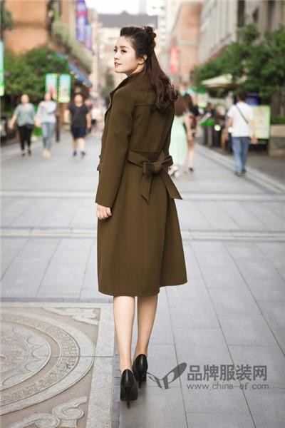 惠之良品女装2017秋冬韩版收腰中长款毛呢外套