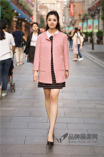惠之良品女装2017秋冬韩版中长款毛呢外套