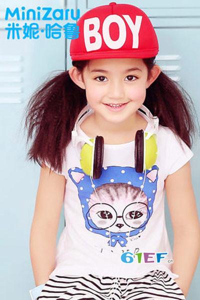 米妮哈鲁童装2017夏季可爱猫咪T恤