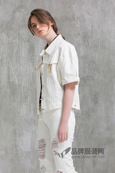 米尚女装2017秋季时尚中袖牛仔外套