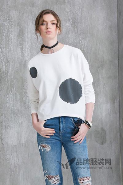 米尚女装2017秋季宽松波点T恤