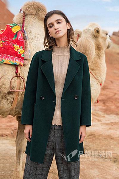 衣佰芬品牌女装女装2017秋冬韩版中长款毛呢外套