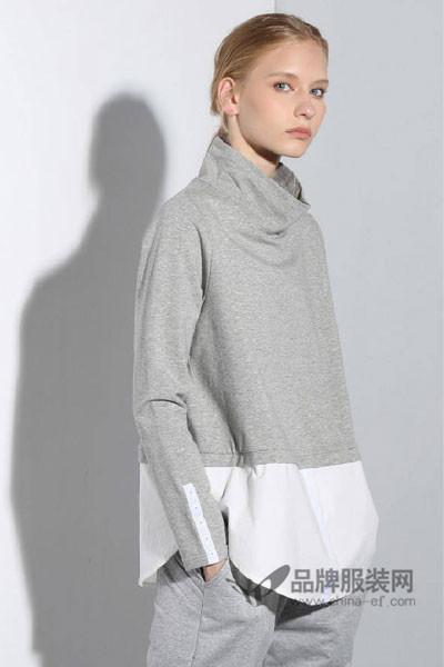 衣佰芬品牌女装女装2017秋冬时尚拼接高领上衣