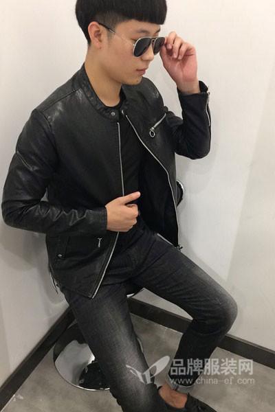 梵朴男装2017秋季休闲皮外套