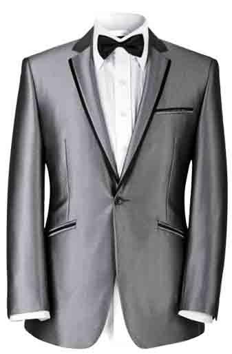 卡尔・高斯男士银色平驳领礼服