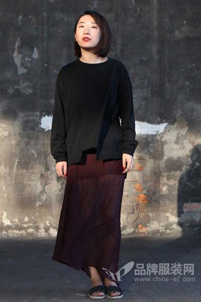 无泥女装2017秋冬分叉长袖T恤裙
