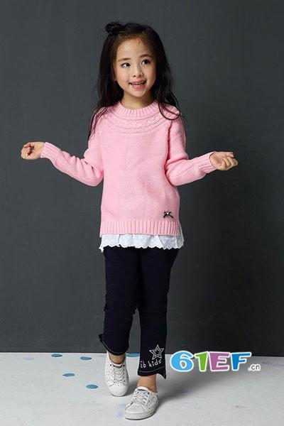 吉象贝儿童装2017秋冬假两件针织上衣