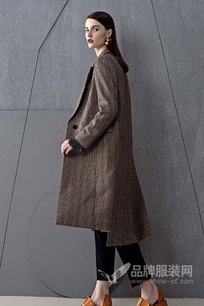 朗蔻LOAMAXY女装2017秋冬欧美中长款不规则外套