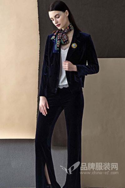 朗蔻LOAMAXY女装2017秋冬商务丝绒西装套装