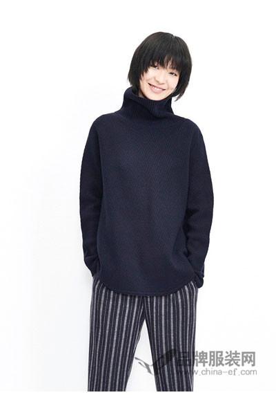 恩派雅女装2017秋冬休闲高领针织毛衣