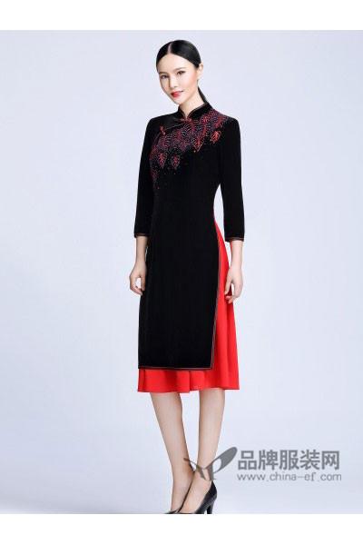 依达利·米兰女装2017秋冬中国风印花假两件旗袍
