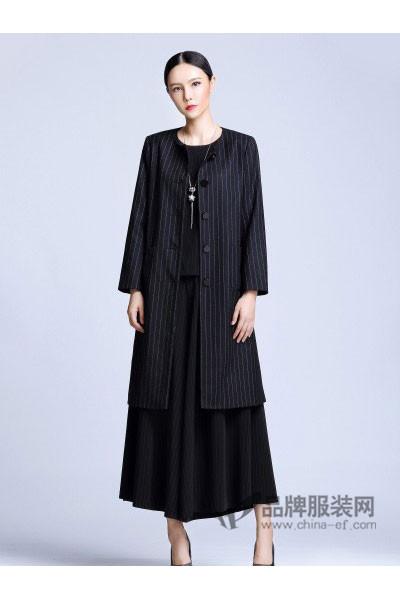 依达利·米兰女装2017秋冬商务条纹中长款外套