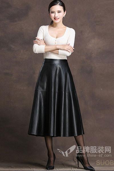 索芭朵女装2017秋冬森系高腰皮裙