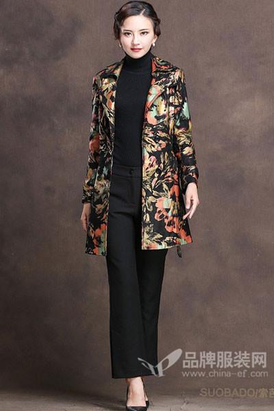 索芭朵女装2017秋冬成熟中长款印花外套