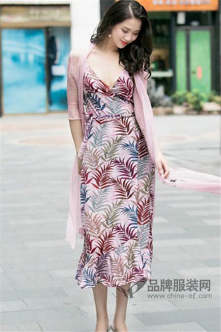 戛纳力斯女装2017夏季印花连衣裙