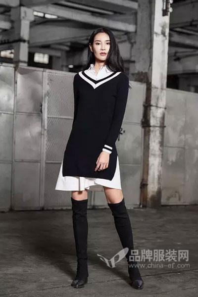 M2稞女装2017秋季西施西安V领针织,毛衣