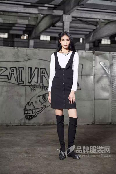 M2稞女装2017秋季减龄背带牛仔裙