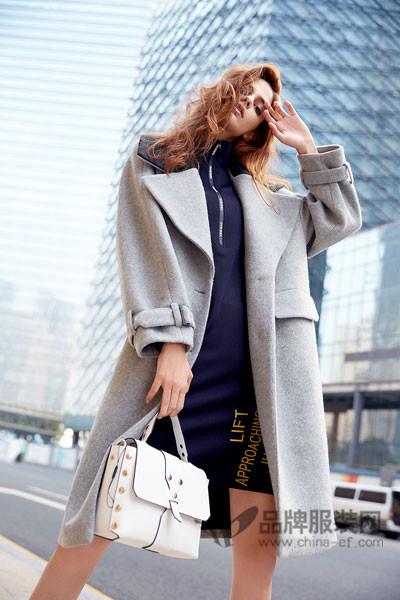 丹比奴女装2017秋冬韩版中长款毛呢外套