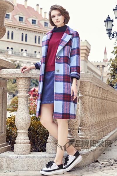 你好小妞HiLass女装2017秋冬韩版中长款格子毛呢外套