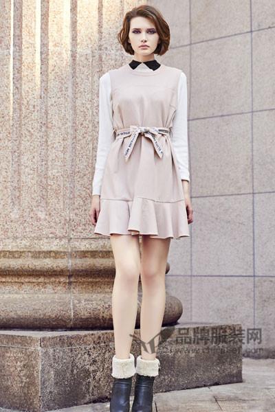 你好小妞HiLass女装2017秋冬淑女收腰连衣裙
