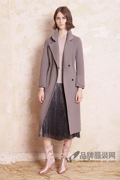 德芙瑞女装2017秋冬欧美修身中长款毛呢外套