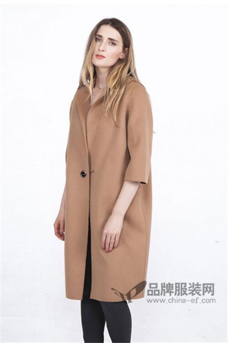 蔓瑞兰熙女装2017秋冬百搭中长款毛呢外套