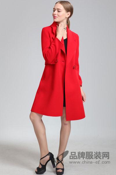 芝麻E柜折扣女装新品2017秋冬红色大衣
