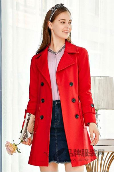 郁香菲女装2017秋冬欧式又排扣大红色中长款外套