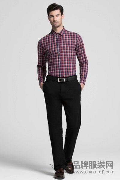 占姆士JamesEARL 男装2017秋冬正式商务格纹长袖衬衣