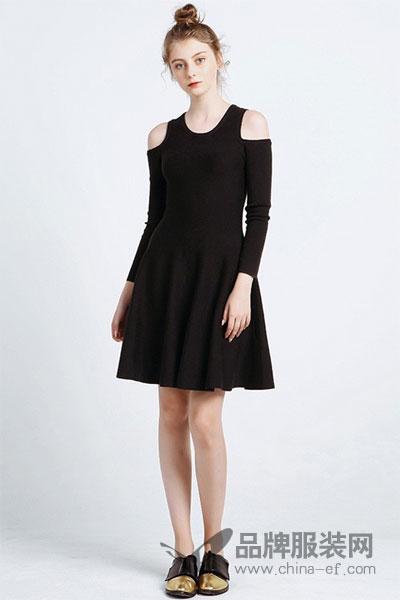 JECCI FIVE杰西伍女装2017秋冬时尚个性露肩长袖连衣裙