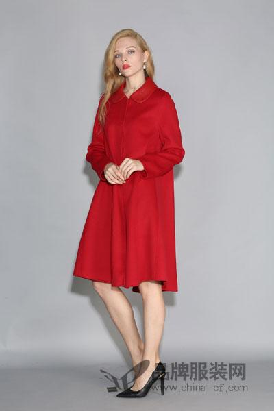 丽约尔女装2017秋冬时尚休闲中长款红色衬衣