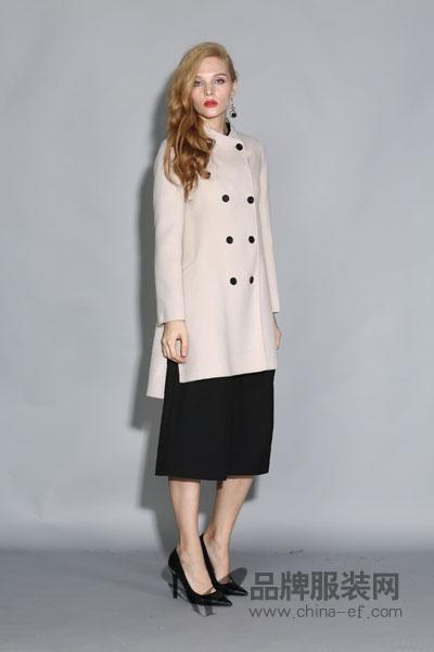 丽约尔女装2017秋冬时尚休闲双排扣米色中长外套